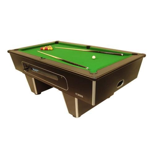 Classic Slate Bed CoinOp Pool Table Black Optima Pool - English pool table