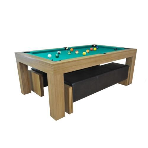 Pool Dining Tables - Duo Milano Pool Table Diner - Mid Oak