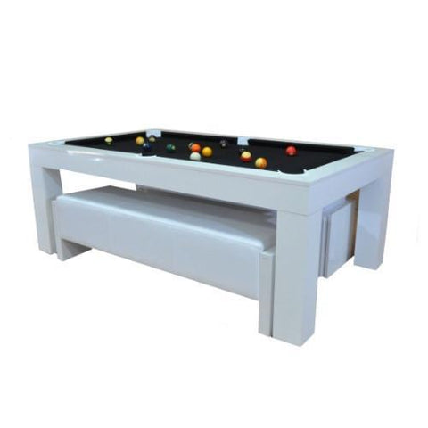 Duo Milano Pool Table Diner - Piano White Gloss