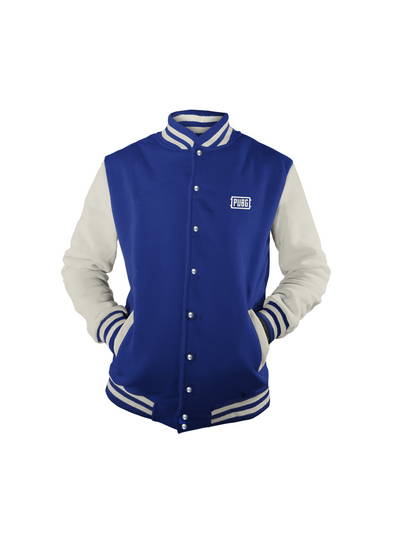 PUBG Blue and White Varsity Jacket