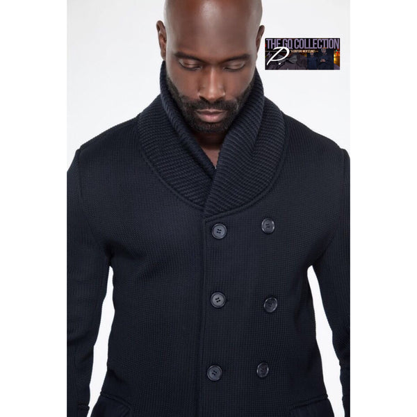 GQ Dark Navy Double Breasted Sweater