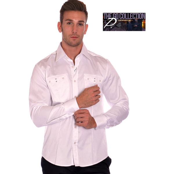 GQ Multi Zipper Button Up Dress Shirt