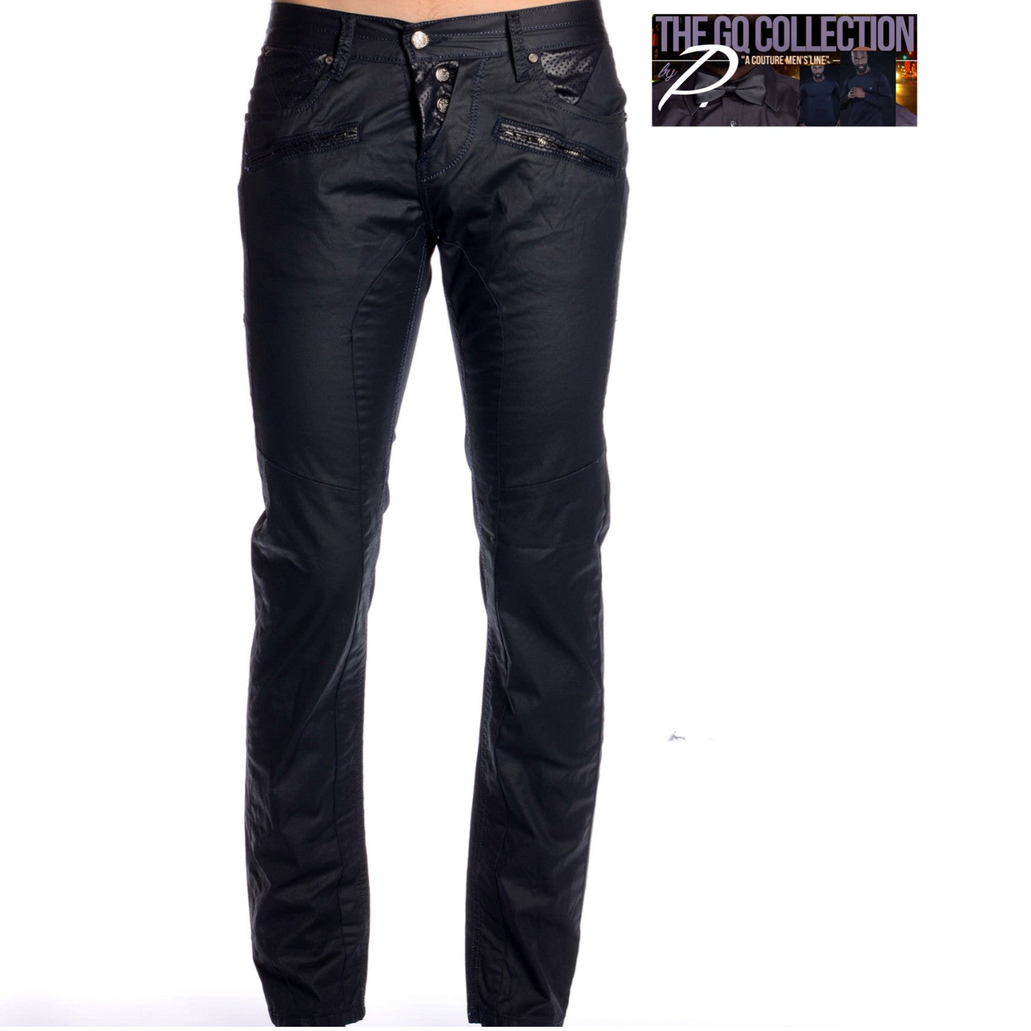 GQ Designer Dark Navy Jeans with Faux Leather