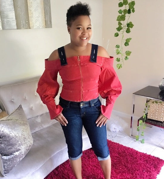 Lil Red Riding Hood Off the Shoulder Denim Blouse