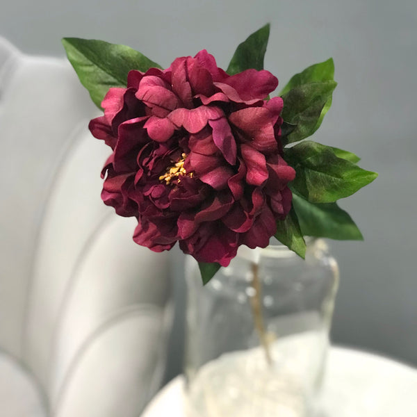 artificial flowers luxury faux silk burgundy real touch peony lifelike realistic faux flowers buy online from Amaranthine Blooms UK