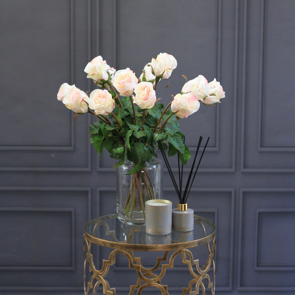artificial flowers luxury faux silk pale pink large rose bud bouquet lifelike realistic faux flowers buy online from Amaranthine Blooms Hong Kong UK