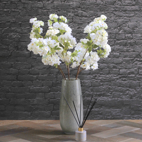 white cherry blossoms - bunch of 6 stems