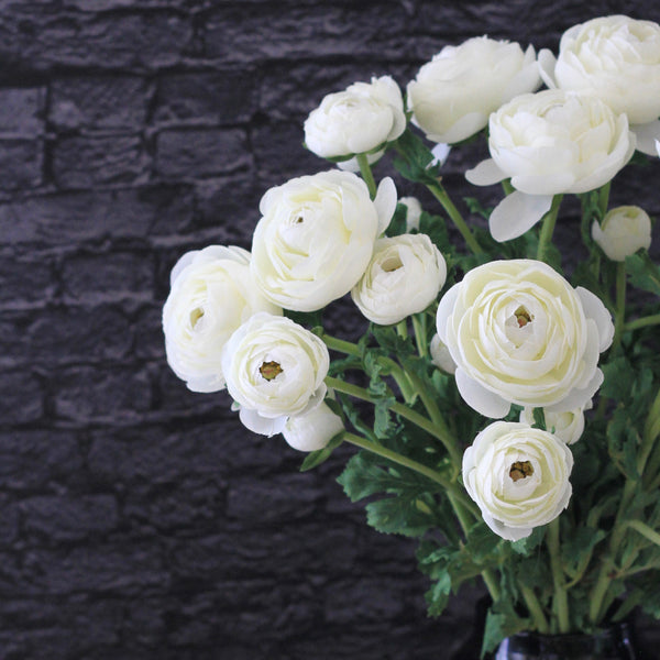 artificial flowers luxury faux silk white ranunculus spray lifelike realistic faux flowers buy online from Amaranthine Blooms UK