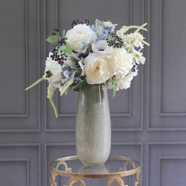 artificial flowers luxury faux silk white hydrangea rose and blueberry bouquet lifelike realistic faux flowers buy online from Amaranthine Blooms Hong Kong UK