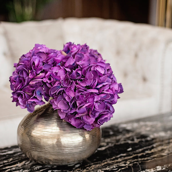 luxury artificial fake silk flowers bright purple mophead hydrangea lifelike realistic faux flowers buy online from Amaranthine Blooms Hong Kong UK