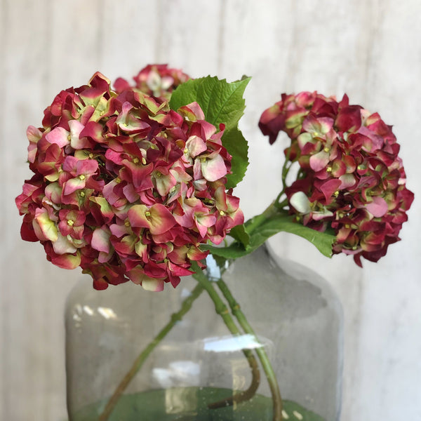 luxury artificial fake silk flowers red dried hydrangea 1 lifelike realistic faux flowers buy online from Amaranthine Blooms Hong Kong UK
