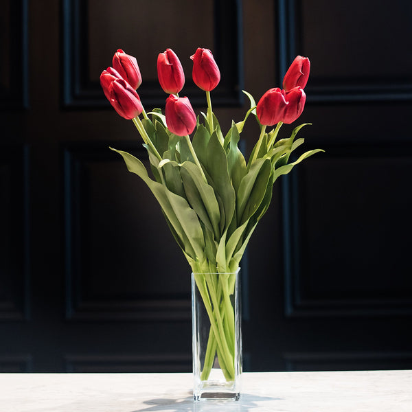 luxury artificial fake silk flowers red tulip lifelike realistic faux flowers buy online from Amaranthine Blooms Hong Kong UK