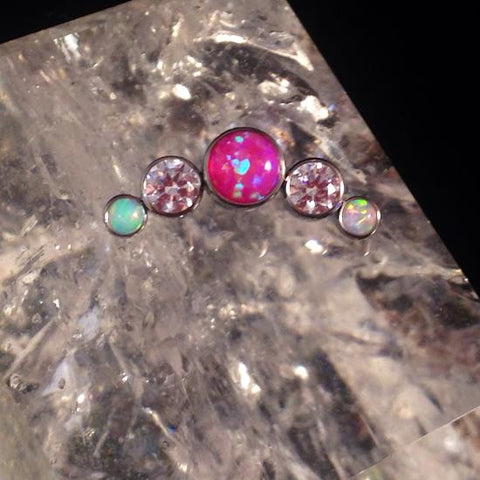 Hot Pink Opal Clear CZ White Opal Titanium 5-Stone Arc