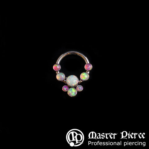 Hot Pink Light Pink & White Opal Titanium Captive Bead Cabochon Cluster Ring