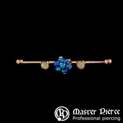 White Opal Bezel-Set Cabochon & Dark Blue Opal Flower Titanium Gemmed Industrial Bars