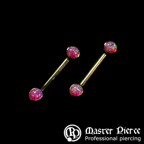 Magenta Opal Titanium Forward Facing Barbell