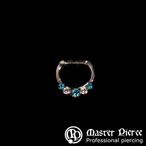 Mint Green & Clear CZ Titanium 5-Stone Faceted Septum