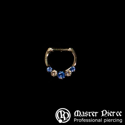 Artic Blue & Clear Swarovski  Titanium 5-Stone Faceted Septum