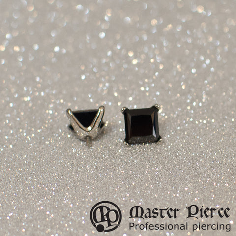 Black CZ Titanium Prong-Set Princess Cut Threaded End