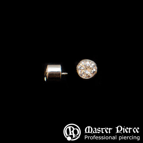 Champagne CZ Titanium Bezel-Set Threaded End