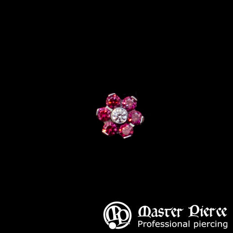 Red & Clear CZ Titanium Flower Threaded End
