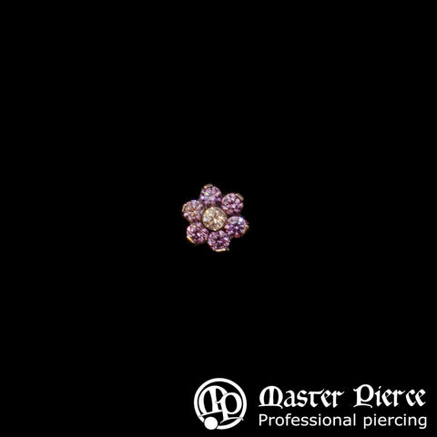 Amethyst & Clear CZ Titanium Flower Threaded End