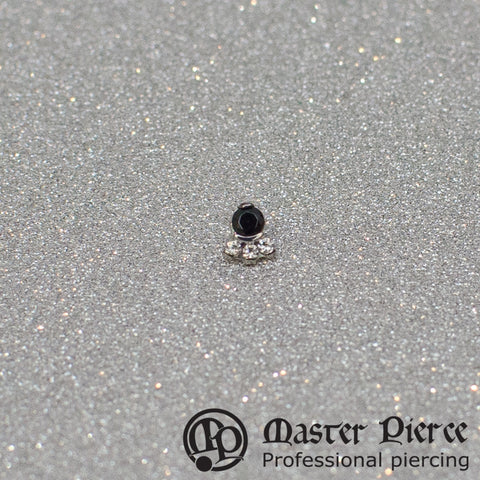 Black & Clear CZ Titanium Carina Threaded End