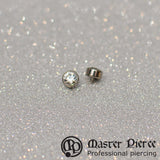 Clear CZ Titanium Bezel-Set Faceted Threaded End