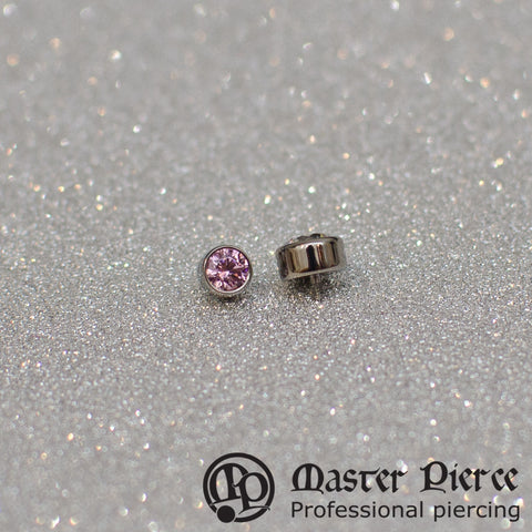 Pink CZ Titanium Bezel-Set Faceted Threaded End