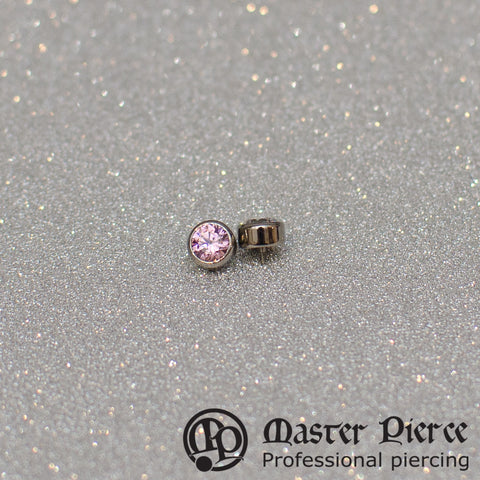 Pink CZ Titanium Bezel-Set Faceted Threaded Threaded End