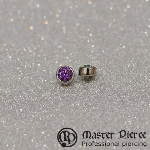 Amethyst CZ Titanium Bezel-Set Faceted Threaded End