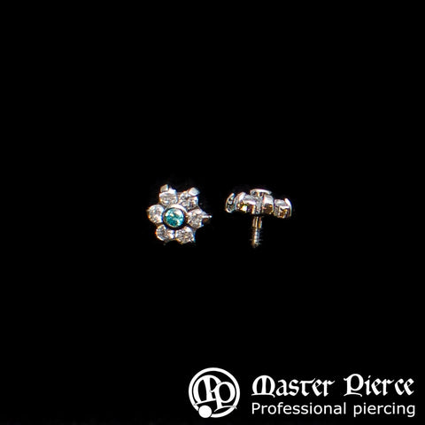 Clear & Mint Green CZ Titanium Flower Threaded End