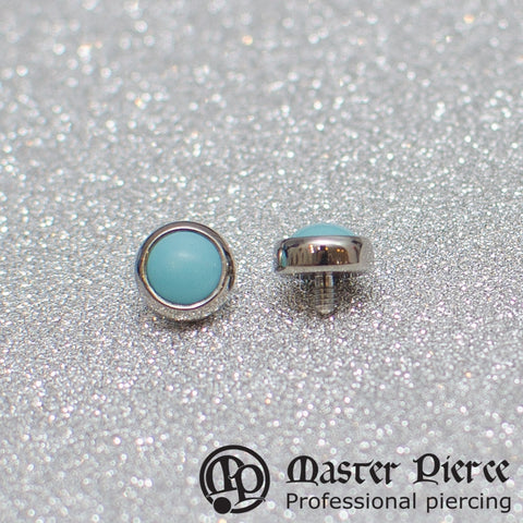 Turquoise Titanium Bezel-Set Cabochon Threaded End