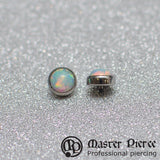 White Opal Titanium Bezel-Set Cabochon Threaded End