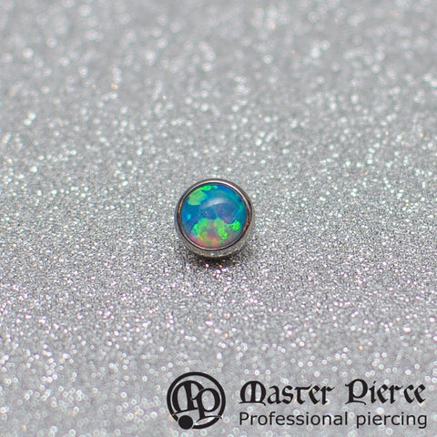 Light Blue Opal Titanium Bezel-Set Cabochon Threaded End