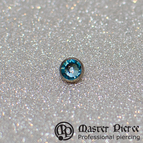 Aqua CZ Titanium Bezel-Set Faceted Top