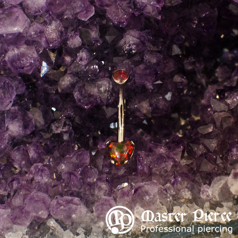 Red Opal Stainless Steel Heart Navel Curve