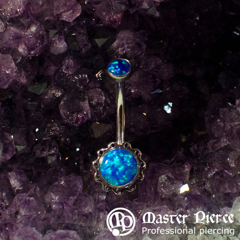Blue Opal Stainless Steel Aurora Navel Curve
