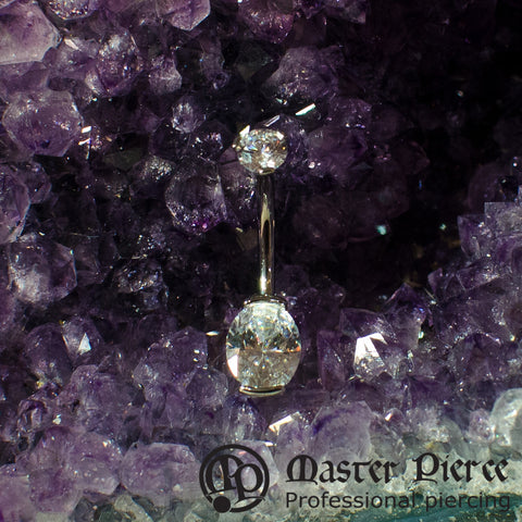 Clear CZ Titanium Prong-Set Oval Cut Navel Curve