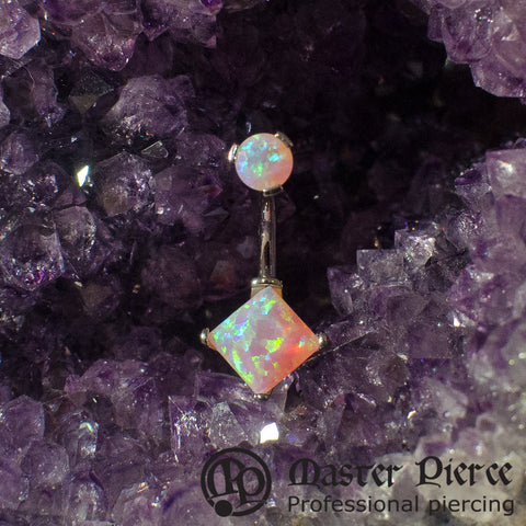 Bubblegum Pink Opal Titanium Prong-Set Princess Cut Navel Curve