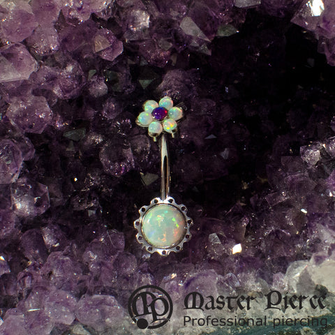 White Opal Stainless Steel Aurora Navel Curve with Flower Top