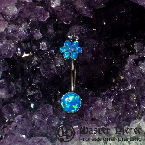 Blue Opal Titanium Bezel-Set Cabochon Navel Curve with Flower Top