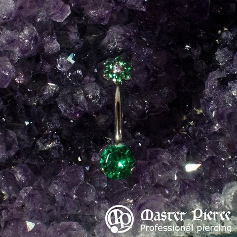 Green & Clear CZ Titanium Prong-Set Navel Curve with Flower Top