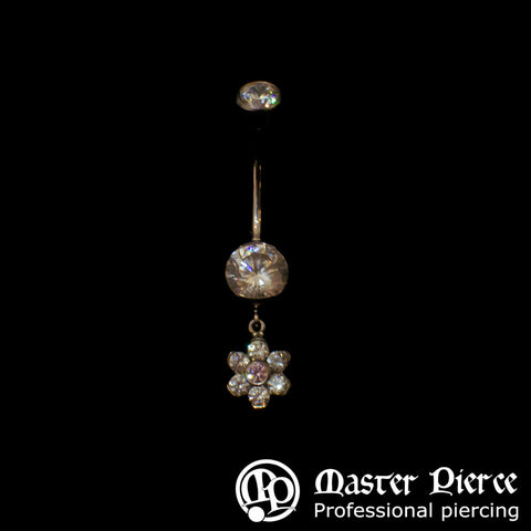 Clear & Pink CZ Titanium Prong-Set Navel Curve with Bezel-Set Top & Flower Dangle