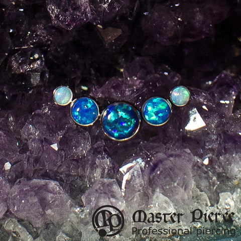 Dark & Light Blue Opal Titanium 5-Stone Arc