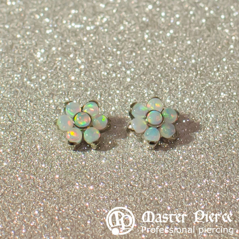 White Opal Titanium Flower Threaded End