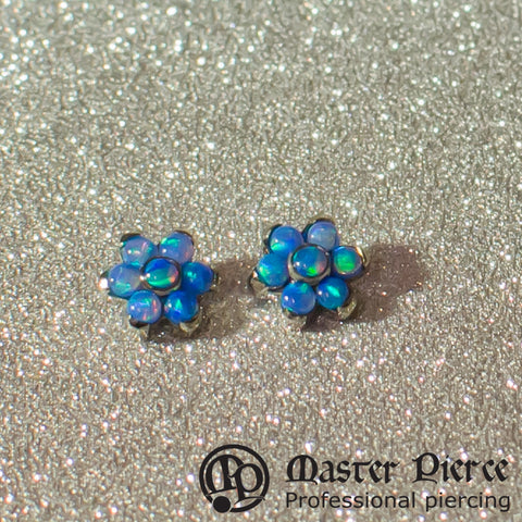 Light Blue Opal Titanium Flower Threaded End