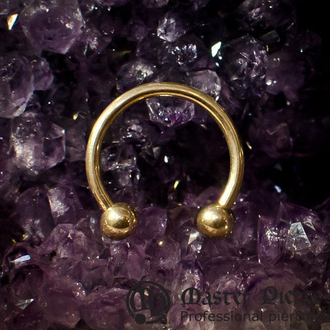 Yellow Gold Circular Barbells with Bead