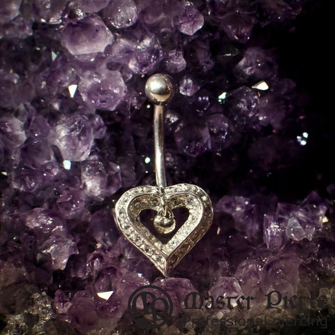White Gold Heart Navel Curve with Bead Top & Dangle Inside Heart