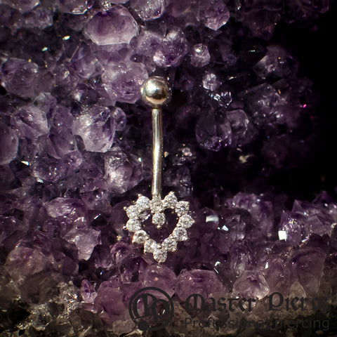 White Gold Heart Navel Curve with Bead Top
